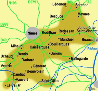 Costiere de Nimes - map